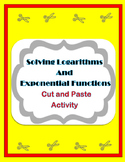 Solving Logarithms and Exponential Functions Activity