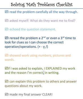 Solving Math Problems Checklist