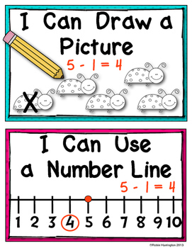Math Strategy Posters {Subtraction Problems} Kindergarten & First Common Core