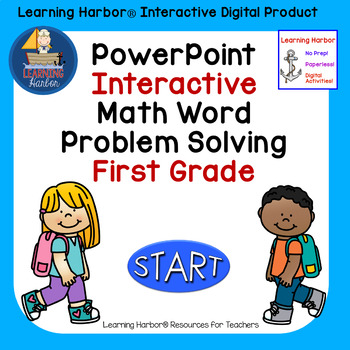 Solving Math Word Problems  1st Grade self correcting Interactive PowerPoint