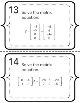 Matrix Equations Task Cards (Inverses Included!)