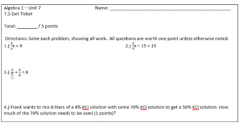 Solving Mixture Problems with Percents Lesson Plan Bundle and Quiz