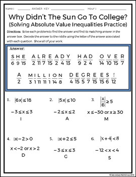 Solving Multi Step Absolute Value Inequalities Practice Riddle Worksheet