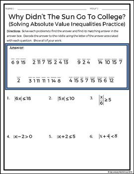 Solving Multi-Step Absolute Value Inequalities Practice Riddle Worksheet