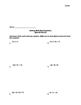 Solving Multi-Step Equation Assessment