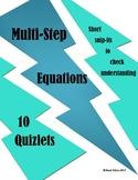 Solving Multi-Step Equation Quizlets