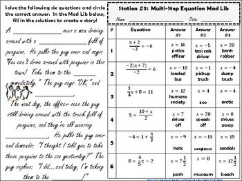 Solving Multi-Step Equation Review Stations