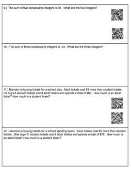 Solving Multi-Step Equation Story Problems (with QR codes)