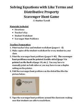 Solving Multi-Step Equations #1 Scavenger Hunt Game