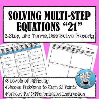 "Solving Multi-Step Equations ""21"""