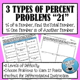 """3 TYPES OF PERCENT PROBLEMS """"21"""""""