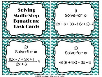 Solving Multi-Step Equations: 30 Task Cards