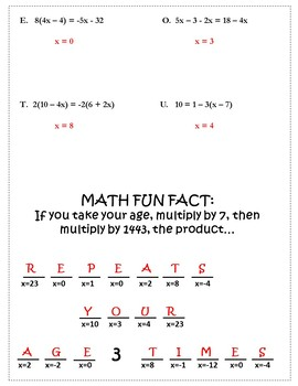 Algebra 1 Solving Equations Activity {Solving Multi Step Equations ...