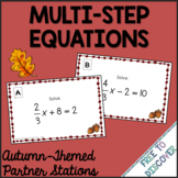 Autumn (Back to School) Theme - Solving Multi-Step Equations