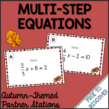 Solving Multi-Step Equations - Autumn (Back to School) Theme