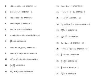 Solving Multi-Step Equations BINGO Review Game