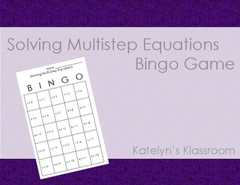 Solving Multi-Step Equations Bingo Game