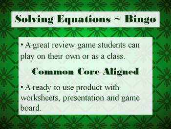 Solving Multi-Step Equations Bingo - Practice Algebra while playing a GAME!