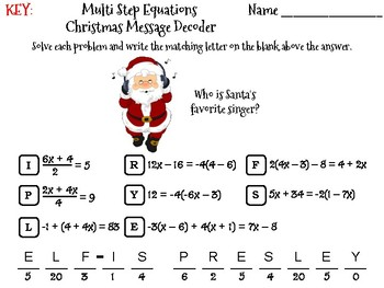 Solving Multi Step Equations Christmas Math Activity: Message Decoder