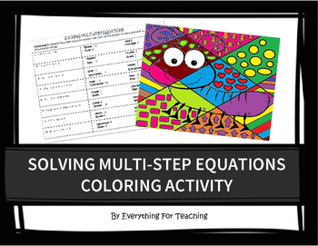 Solving Multi Step Equations Coloring Activity By Everything For