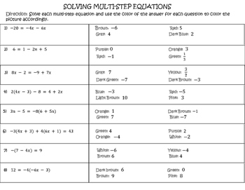 Solving Multi-Step Equations: Coloring Activity