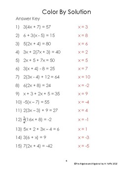 Solving Multi-Step Equations Coloring Worksheet Level 1