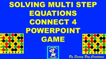 Solving Multi Step Equations Connect 4 Powerpoint Game