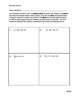 Solving Multi-Step Equations Cooperative Learning Lesson