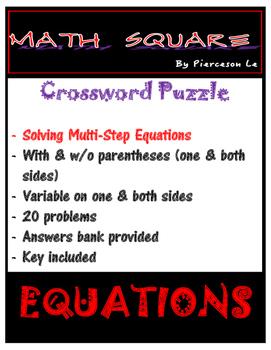 Solving Multi Step Equations Crossword Puzzle