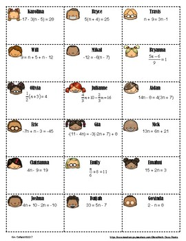 "SOLVING MULTI-STEP EQUATIONS - ""MATH MATCH"" CUT & PASTE ACTIVITY"