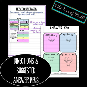 Solving Multi Step Equations Digital Interactive Notebook Pages