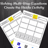 Solving Multi-Step Equations (Distributive Property) Create the Riddle Activity