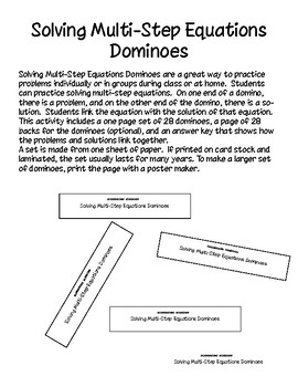 Solving Multi-Step Equations Dominoes - PP