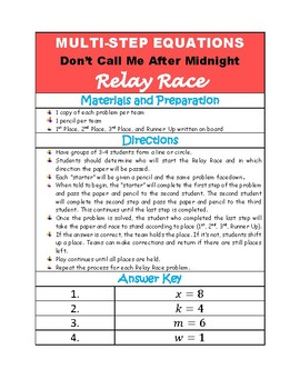 Solving Multi-Step Equations - Don't Call Me After Midnight - RELAY RACE