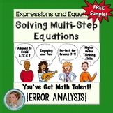 Solving Multi-Step Equations Error Analysis {Free Sample}