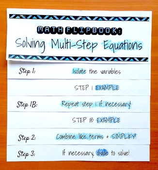 Solving Multi-Step Equations Flip Book