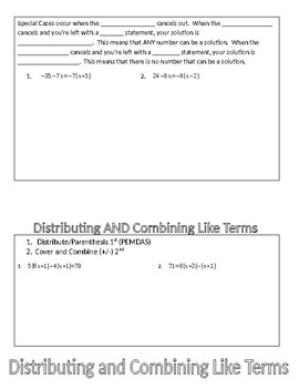 Solving Multi Step Equations Flip Book (includes special cases)