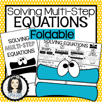 Solving Multi-Step Equations Interactive Notebook Foldable