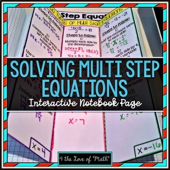 Solving Multi Step Equations Foldable Page by 4 the Love of Math