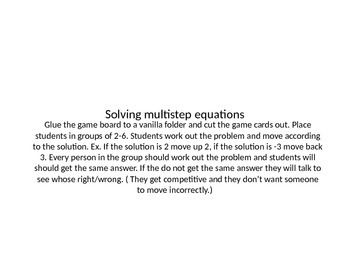 Solving Multi-Step Equations Game