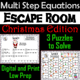 Solving Multi Step Equations Game: Escape Room Christmas Math Activity
