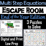 Solving Multi Step Equations Game: Escape Room End of Year Math Activity