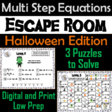 Solving Multi Step Equations Game: Escape Room Halloween Math Activity