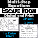 Solving Multi-Step Equations Game: Algebra Escape Room Math Activity