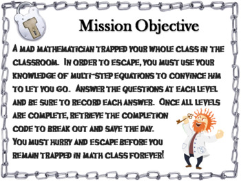 Solving Multi-Step Equations Game: Algebra Escape Room Math Activity