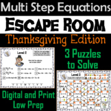 Solving Multi Step Equations Game: Escape Room Thanksgiving Math Activity