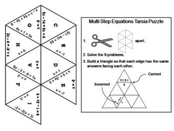 Solving Multi-Step Equations Game: Math Tarsia Puzzle