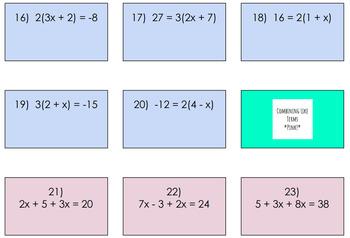 Solving Multi-Step Equations Google Slides Task Cards