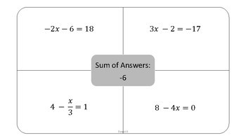 Solving Multi-Step Equations Group Activity