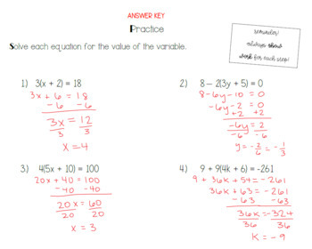 Solving Multi-Step Equations Guided Notes & Practice